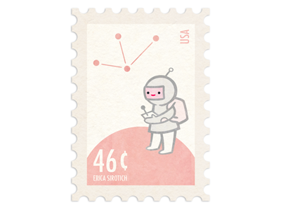 Spaceboy Stamp by Erica Sirotich