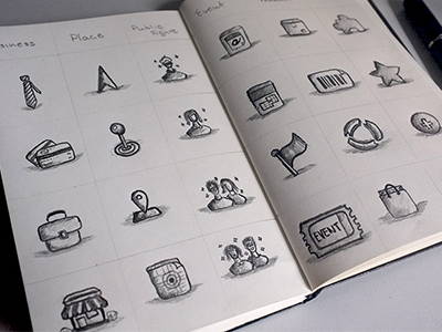 Icons sketches by Jackie Tran Anh