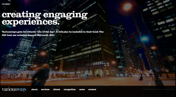 variousways 2013 Web Design Inspiration: Designing with Video Backgrounds