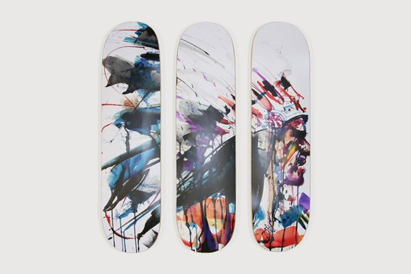 "Skateboard decks from Dave White's ""Americana"" Exhibition"
