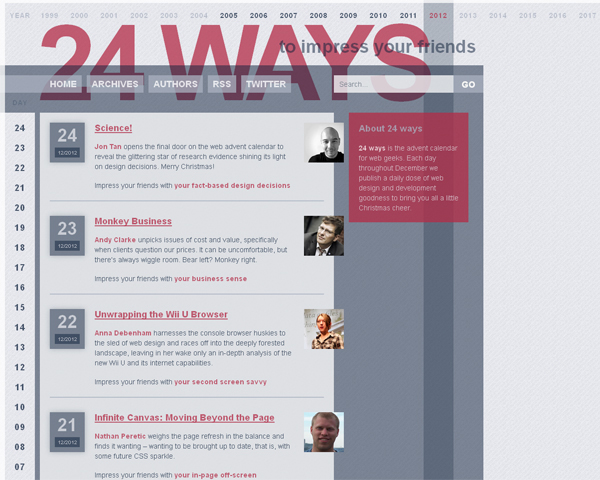 24ways Beauty of the Web: 60 Amazing Blog Designs