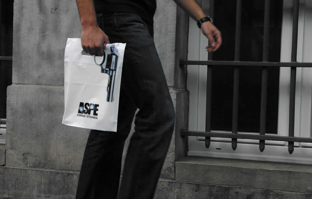 ASPE Crime Stories Bag Guerilla Marketing Example