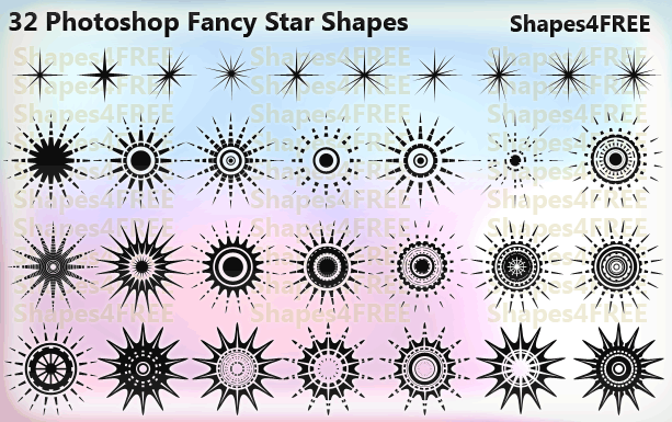 32 star shapes lg1 2500+ Free Custom Photoshop Shapes