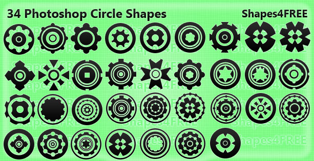 34 circle shapes lg1 2500+ Free Custom Photoshop Shapes