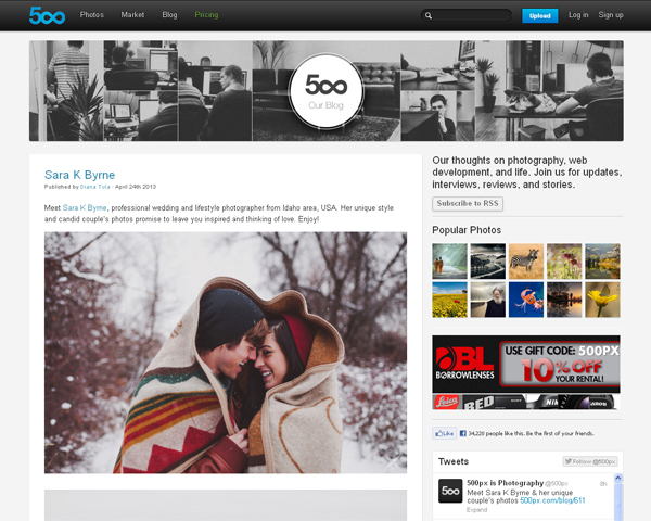 500px blog Beauty of the Web: 60 Amazing Blog Designs
