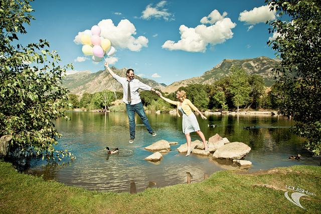 Levitation Balloons over Lake