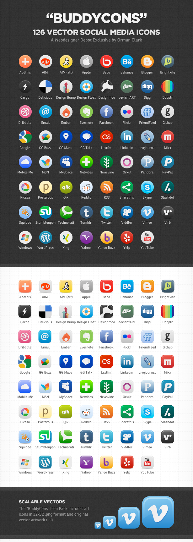 Vector Social Media Icons by Orman Clark