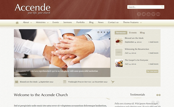 accende 20 Excellent Wordpress Themes for Churches