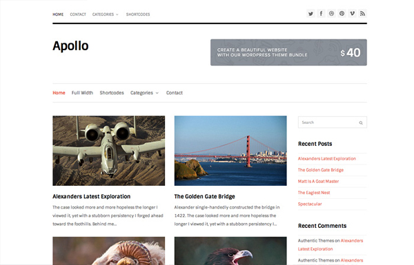 apollo 20 Minimal Wordpress Themes by Authentic Themes