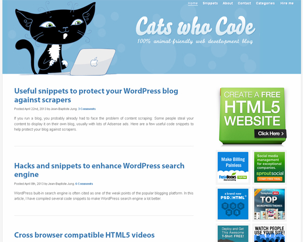 cats who code Beauty of the Web: 60 Amazing Blog Designs