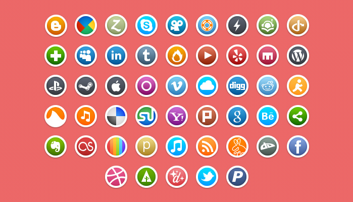 circle social media icons preview1 Top 40 Must Have Social Media Icon Sets from 2013