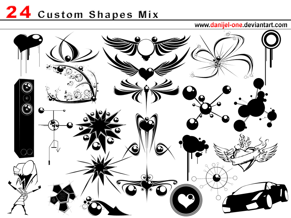 custom shape mix by danijel one1 2500+ Free Custom Photoshop Shapes