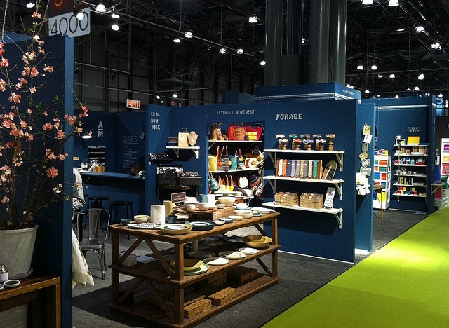 peacock blue display booth