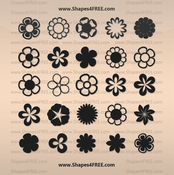 flowers photoshop shapes lg1 2500+ Free Custom Photoshop Shapes