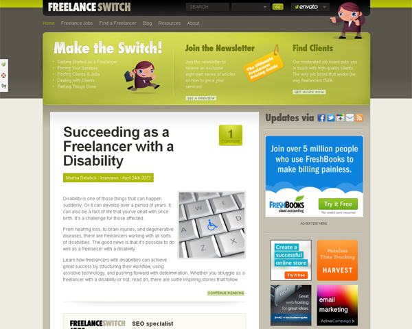 freelance switch1 Beauty of the Web: 60 Amazing Blog Designs