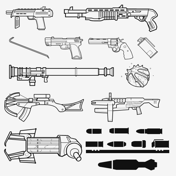 half life 2 weapon shapes by zeptozephyr1 2500+ Free Custom Photoshop Shapes