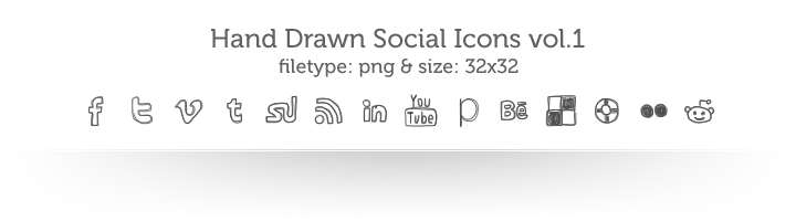 inspiiired hand drawn social icons vol 11 Top 40 Must Have Social Media Icon Sets from 2013