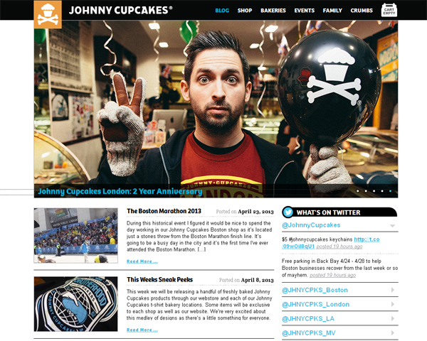 johnny cupcakes Beauty of the Web: 60 Amazing Blog Designs