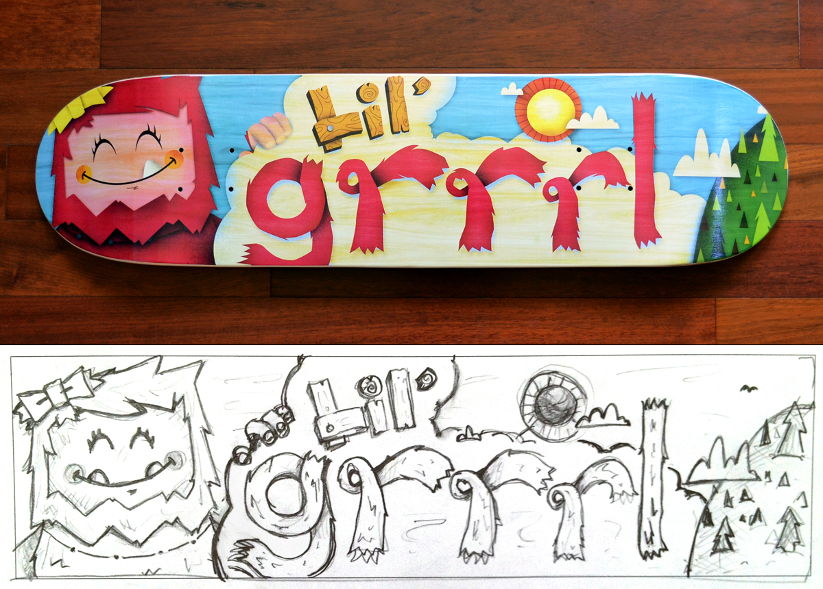 Lil' Grrrl Skateboard - Printed by Tommy Perez Follow