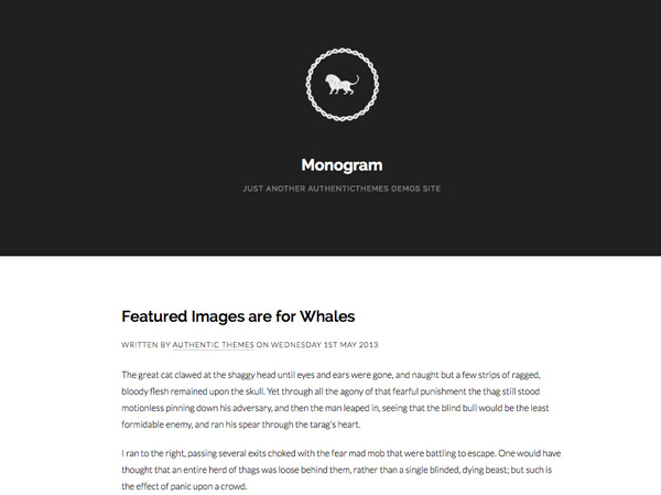 monogram 20 Minimal Wordpress Themes by Authentic Themes