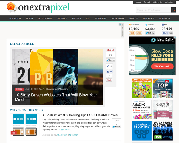 onextrapixel Beauty of the Web: 60 Amazing Blog Designs