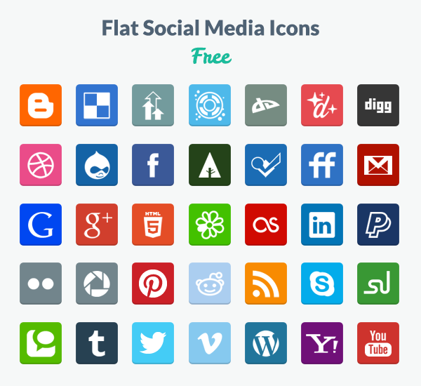 preview flat icons1 Top 40 Must Have Social Media Icon Sets from 2013