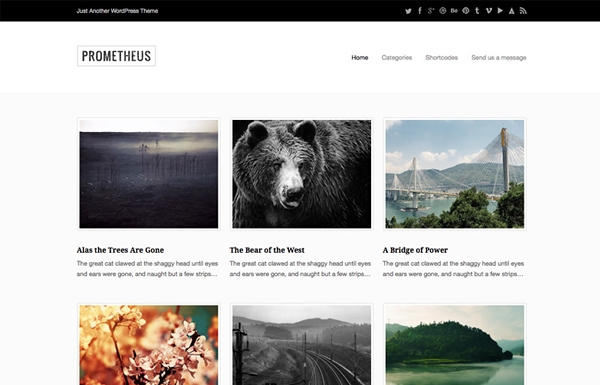 prometheus 20 Minimal Wordpress Themes by Authentic Themes