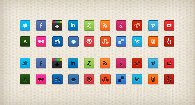 purty social cons1 Top 40 Must Have Social Media Icon Sets from 2013