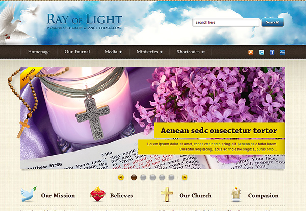 ray of light 20 Excellent Wordpress Themes for Churches