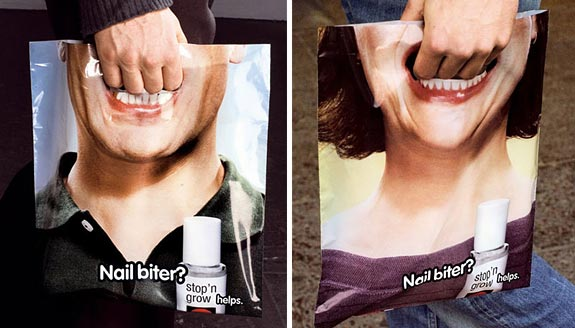 shopping bag ads nailbiter1 25 Creative Shopping Bag Advertisements