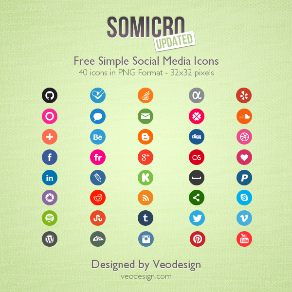 somicro  40 free social media icons by vervex d495e2d1 Top 40 Must Have Social Media Icon Sets from 2013