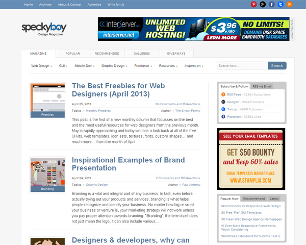 speckyboy Beauty of the Web: 60 Amazing Blog Designs
