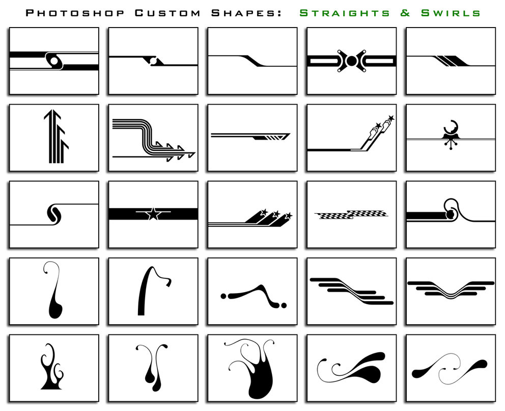 straights and swirls by thesuper1 2500+ Free Custom Photoshop Shapes