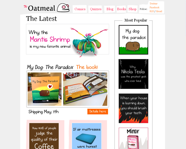 the oatmeal Beauty of the Web: 60 Amazing Blog Designs