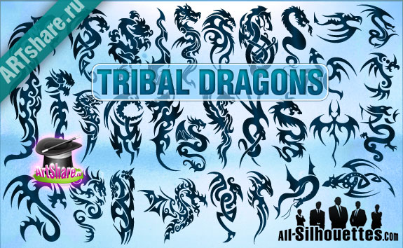 tribal vector dragons1 2500+ Free Custom Photoshop Shapes
