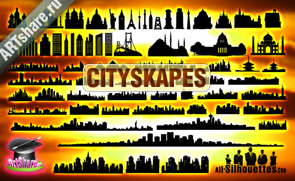 vector cityscapes1 2500+ Free Custom Photoshop Shapes