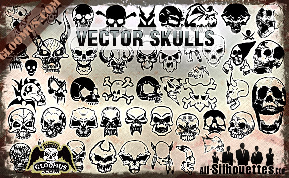 vector skulls clipart1 2500+ Free Custom Photoshop Shapes