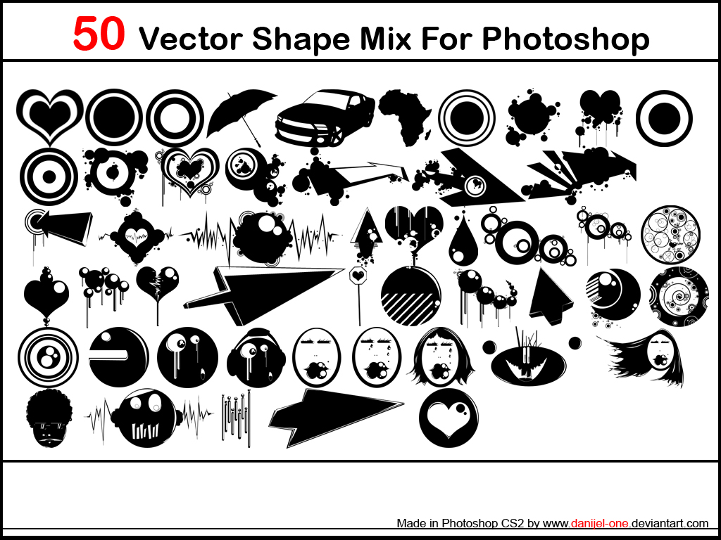 vector shape mix by danijel one1 2500+ Free Custom Photoshop Shapes