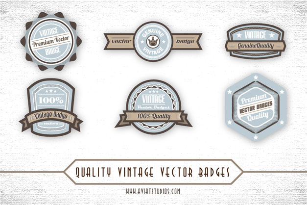 Blue and Brown Vintage Vector Badges