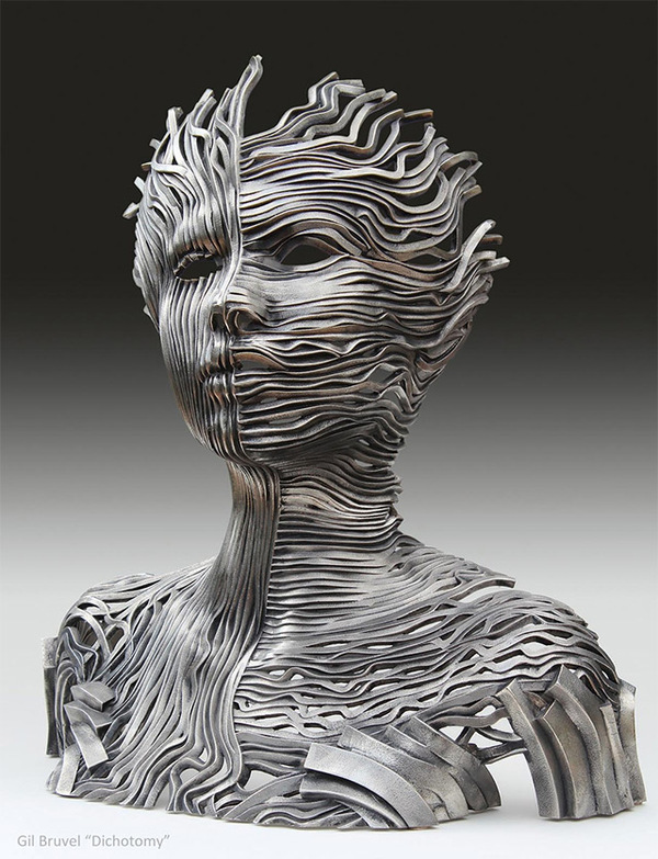 Human Figure Composed of Unraveling Stainless Steel Ribbons by Gil Bruvel