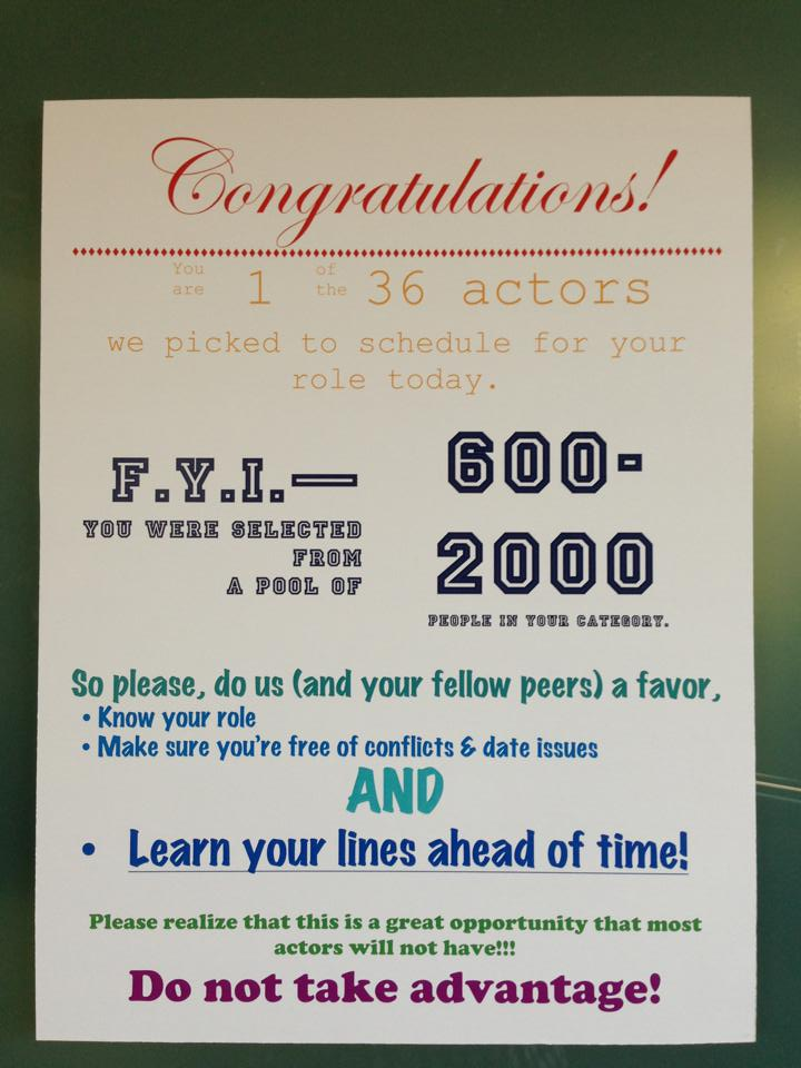Acting sign at audition