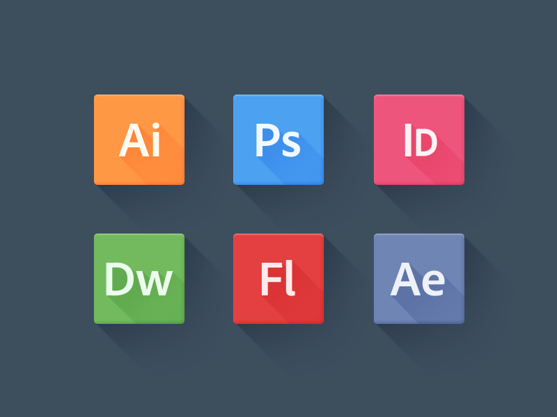 Long Shadow Adobe Icons by Geoffrey Brailsford