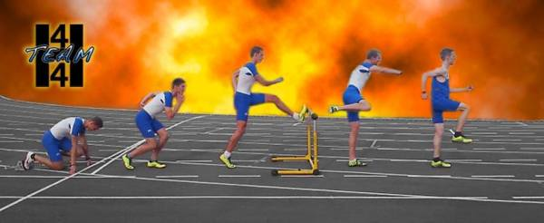 Some local people want to set a new world record in 4 x 400m hurdling. This is their facebook cover
