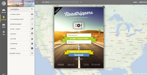 roadtrippers 30 Outstanding Full screen Websites