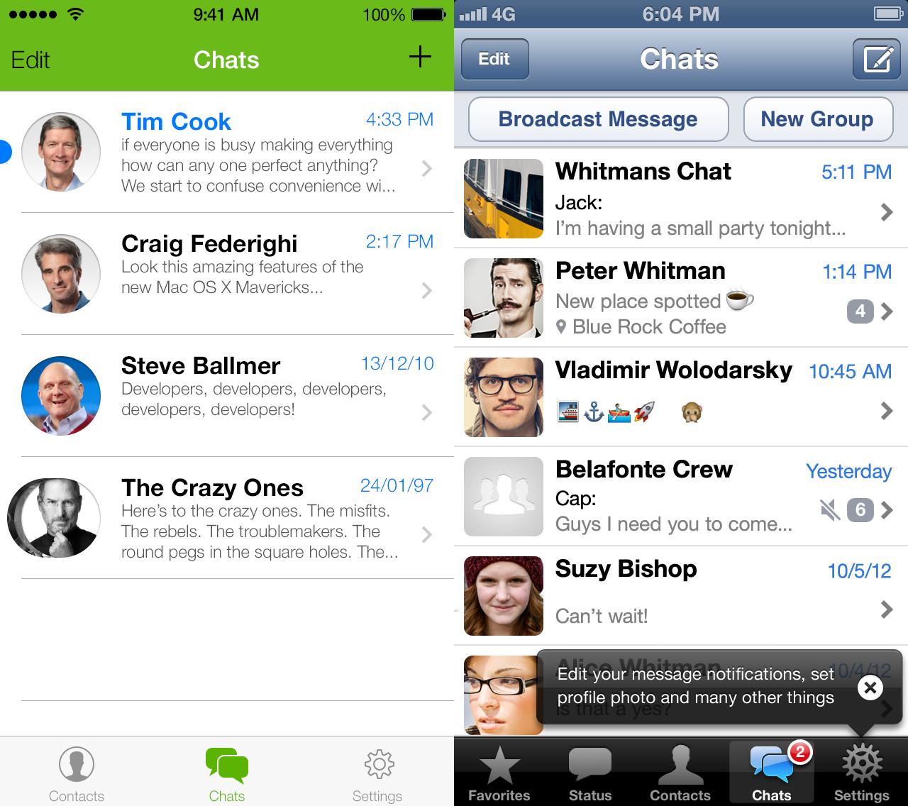 What's App iOS7 Redesign