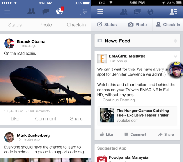 Facebook iOS 7 Redesign