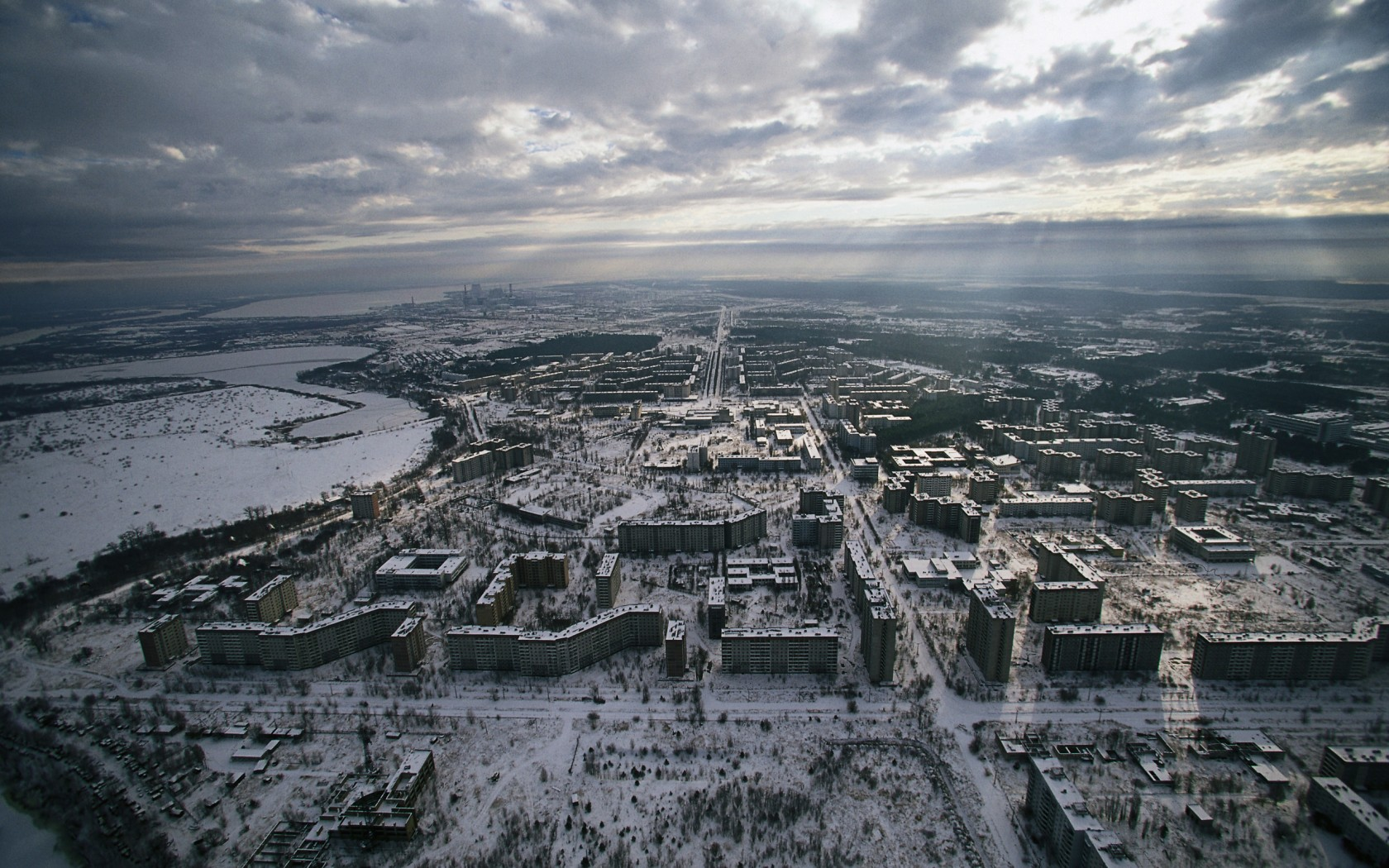A skyline picture of the abandoned Ukrainian city Prypiat