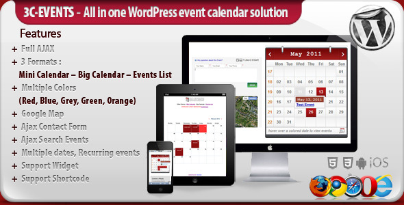 3c events preview1 10 WordPress Calendar Plugins and Widgets