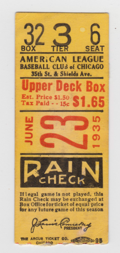 1935 Red Sox at White Sox DH Ticket
