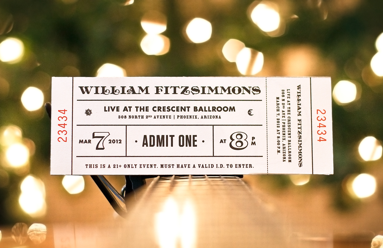 William Fitzsimmons Concert Ticket by Adam Butler